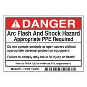 BRADY Arc Flash Labels, 5 in x 3 1/2 in, Danger - Arc Flash And Shock Hazard, Red, 5/PK, #103532