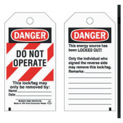 Brady Lockout Tags, 5 3/4 in x 3 in, Economy Polyester, Danger, Do Not Operate, 1/PK, #66064