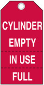 Brady Cylinder Status Tags, 5 3/4 x 3 in, Cylinder Empty, In Use Full, 100/PKG, #17927