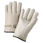 Anchor Products 4100 Series Quality Grain Cowhide Leather Driver Gloves, Large, Unlined, Natural, 12/DOZ, #990LSL