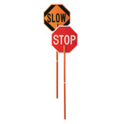 """Cortina Safety Paddle, Silk-Screened Plastic, 81"""" Hndl, STOP/SLOW, Red/White/Orange/Blk, 1/EA, #03827P"""