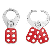 American Lock Lockout Hasps, 1 1/2 in Jaw dia., Red, 1/EA, #ALO802