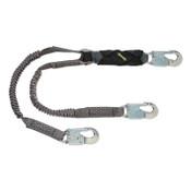MSA V-Series Stretch Twin-Leg Energy Absorbing Lanyard, 310 lb, 6 ft, Sm Snap Hooks, 1/EA, #10193553