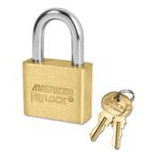 American Lock Solid Brass Padlocks, 5/16 in Length, 3/4 in, Yellow, Key D244, 1/EA, #AL50KAD244