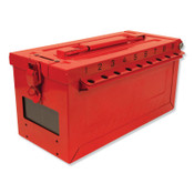 MASTER LOCK Red Steel Group Lockout Box, Max Number of Padlocks: 19, 5-43/64 in x 6-27/64 in, 1/EA, #S600