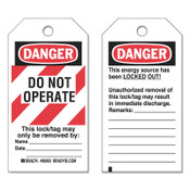 BRADY Lockout Tags, 3 in x 5 3/4 in x 0.0098 in, Danger Do Not Operate This Lock, Red, 25/PK, #66063