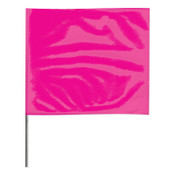Presco Stake Flags, 2 in x 3 in, 21 in Height, PVC; Steel Wire, Pink Glo, 100/BD, #2321PG