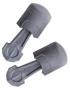 3M Pistonz Earplug P1400, Polyurethane, Gray, Thumb-Grip, Uncorded, 100/BX, #7000127672