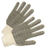 Anchor Products PVC-Dot String-Knit Gloves, Men's, Knit-Wrist, Natural White, Dots 1 Side, 12 Pair, #708SK
