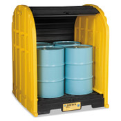 Justrite EcoPolyBlend DrumSheds, Yellow, 5,000 lb, 79 gal, 68 1/2 in x 60 3/4 in, 1/EA, #28676