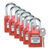 Brady Safety Padlocks, 1/4 in Shackle Dia., 1 1/2 in Long, Red, 6/PK, #51339