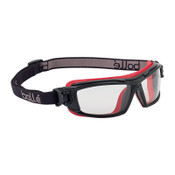 Bolle UTLIM8 Safety Goggles, One Size, Clear, Red Frame, Anti-Fog, Anti-Scratch, 10/BX, #40299