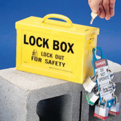 Brady Lock Box, 10 in L x 6 in H x 4 in W, Yellow, 1/EA, #65672