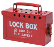 Brady Lock Box, 6 in H x 9 in L x 3.5 in W, Red, 1/EA, #65699
