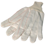 Anchor Products 1000 Series Canvas Gloves, Large, White w/Red Stripe, Knit-Wrist Cuff, 12 Pair, #K81SCNCI