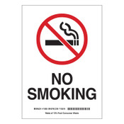 Brady No Smoking Signs, 7w x 10h, Black/Red on White, Polystyrene, 1/EA, #25119