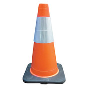Cortina PVC Traffic Cones, 18 in, 6 in Upper Reflective Collar, PVC, Orange/Black, 1/EA, #350021