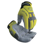 Caiman Hi-Viz Deerskin Leather Palm Gloves, Small, Hi-Viz Green/Gray/White/Black, 6/BX, #2981S