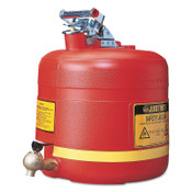 Justrite Nonmetallic Safety Cans for Laboratories, Hazardous Liquid Storage, 5 gal, Red, 1/EA, #14545