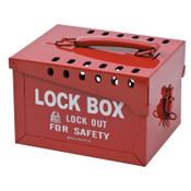 "Brady Extra Large Metal Lock Box, 6"" H x 7 3/8"" W x 9 1/4"" D, Holds 12 Locks, Red, 1/EA, #51171"
