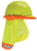 MSA SunShade Hard Hat Accessories, Yellow/Green w/ Reflective Stripe,MSA Caps & Hats, 1/EA, #10098032
