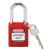 Brady Safety Padlocks, 1/4 in Shackle Dia., 1 1/2 in Long, Red, 1/EA, #99552