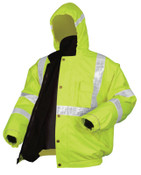 MCR Safety Luminator Bomber Plus Jackets, X-Large, Fluorescent Lime, 1/EA, #BPCL3LXL