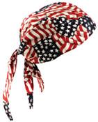 OccuNomix Tuff Nougies Deluxe Tie Hats, One Size, Wavy Flag, 1/EA, #TN6WAV