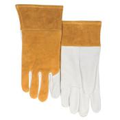 Best Welds 115-TIG Split Cowhide/Goatskin Palm Welding Gloves, Large, Buck Tan/White, 1/PR, #115TIGL