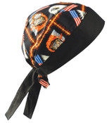 OccuNomix Tuff Nougies Regular Tie Hats, One Size, Motorcycle, 1/EA, #TN5MOT
