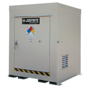 Justrite Non-Combustible Outdoor Safety Locker-Natural Draft Ventilation, (4) 55gal drums, 1/EA, #911040