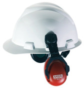 MSA Sound Control Cap Earmuffs, 22 dB NRR, Red, Cap-Mounted, 1/EA, #10061535