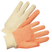 Anchor Products Dotted Canvas Gloves, Cotton Canvas, Large, White/Orange, 12/DZ, #781KOR