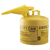 Eagle Mfg Type l Safety Cans, Diesel, 5 gal, Yellow, Funnel, 1/CAN, #UI50FSY