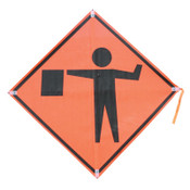 TrafFix Devices, Inc. Mesh Roll Up Sign with Plastic Corner Pockets, Orange, 48 in, 1/EA, #26048EMHFFAS