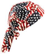 OccuNomix Tuff Nougies Regular Tie Hats, One Size, Wavy Flag, 1/EA, #TN5WAV