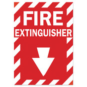 Brady Health & Safety Signs, FIRE EXTINGUISHER, Polyester Sticker, 1/EA, #86091