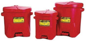 Eagle Mfg Polyethylene Oily Waste Cans, Oiler, 14 gal, Red, 1/CAN, #937FL