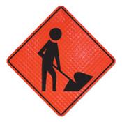 Cortina Workers Symbol Signs, Men Working, Orange, 36 in L, 1/EA, #078003026L