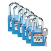 Brady NYLON PADLOCK STEEL 38MMSHA BLUE, 6/PK, #51344