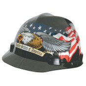 MSA Freedom Series V-Gard Helmets, Fas-Trac Ratchet, American Flag & 2 Eagles, 1/EA, #10052947