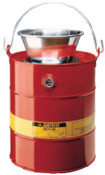 Justrite Drain Cans, Flammable Waste Can, 3 gal, Red, Funnel, 1/CAN, #10903