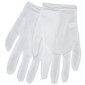 MCR Safety Low Lint Inspectors Gloves, Large, White, Nylon, 12 Pair, #8700L