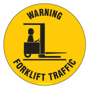 Brady Anti Skid Floor Signs Warning Forklift Traffic, 17 in Dia., Black on Yellow, 1/EA, #97615