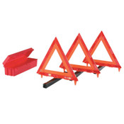 Cortina Triangle Warning Kit, 3 Triangles in Living Hinge Box, 18 in, Red/Hi-Vix Orange, 1/KT, #9503009