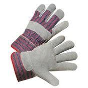 Anchor Products 2000 Series Leather Palm Gloves, Large, Cowhide, Leather, Gray, Striped Back, 12/DOZ, #857500SC