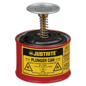 Justrite Plunger Cans, Hazardous Liquid Storage Can, 1 pt, Red, 1/CAN, #10008