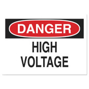 Brady Health & Safety Signs, Danger - High Voltage, 10X14 Polyester Sticker, 1/EA, #84877