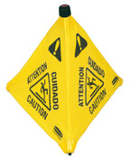 "Newell Rubbermaid™ Floor Pop-Up Safety Cones, Caution (Multi-Lingual)/Wet Floor Symbol, Yellow, 20"", 1/EA, #9S0000YEL"