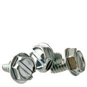 "1/4""-20x3/8"" F/T Indented Hex Washer Head Slotted Thread Cutting Screws Type 23 Zinc Cr+3 (3,000/Bulk Pkg.)"